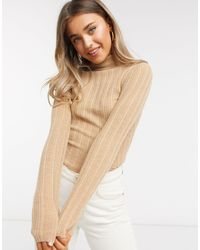 ASOS Ribbed Roll Neck Sweater - Natural