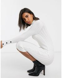 River Island Cable Knitted Dress - White