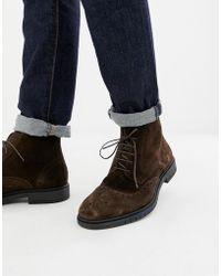 36ce6d1c27673 Tommy Hilfiger - Flexible Dressy Brogue Suede Boot In Brown - Lyst