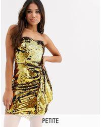 TFNC London - Robe bandeau courte à sequins - Noir et doré - Lyst