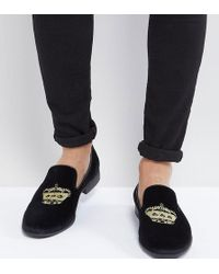 ASOS Loafers In Black Velvet With Crown Embroidery