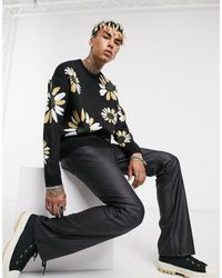 ASOS Knitted Oversized Sweater With Floral Design - Black