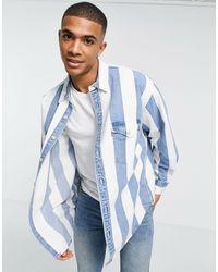 Levi's Barstow - Chemise oversize style western à rayures indigo color block - Taupe/bleu