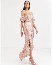 Bariano - Robe mi-longue à encolure Bardot avec sequins et ourlet plongeant - Or rose - Lyst