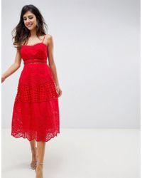 ASOS - Premium Lace Broderie Prom Midi Dress - Lyst