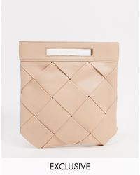Glamorous Exclusive Woven Grab Clutch Bag With Handle - Natural