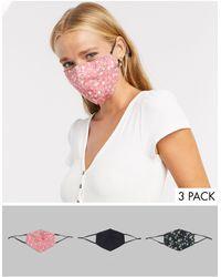 ASOS Confezione da 3 mascherine con stampa a fiori e nero tinta unita - Multicolore