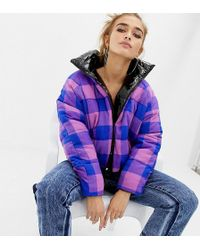 Collusion Petite High Shine Reversible Puffer Jacket - Purple