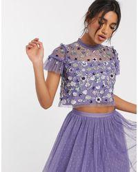 Needle & Thread Crop top en tulle ornementé - lilas - Violet