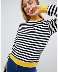 Bershka - Black And White Striped Jumper With Contrast Edge In Multi - Lyst