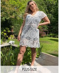Simply Be Crochet Smock Dress - White