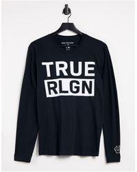 True Religion Черный Лонгслив С Логотипом На Груди -черный Цвет