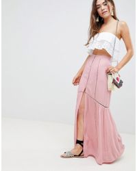 87527180b80c ASOS - Crinkle Maxi Skirt With Lace Trim Detail - Lyst