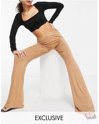 Fashionkilla Kick Flare Trousers With Hip Strap - Multicolour