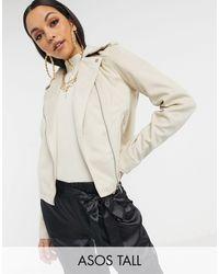 ASOS Asos Design Tall Suedette Biker Jacket - Natural