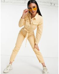 Missguided Tuta di jeans con cintura beige - Neutro