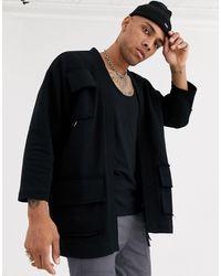 ASOS – Jersey-Strickjacke im Kimonostil mit Utility-Taschen - Schwarz