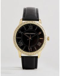 ASOS - Watch In Black And Gold With Roman Numerals And Crystals - Lyst