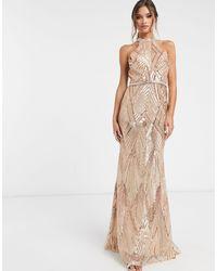 Forever Unique - Золотисто-розовое Платье Макси С Пайетками -розовый Цвет - Lyst