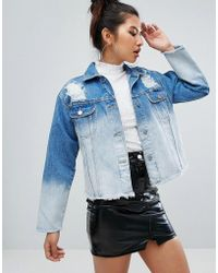 Chorus - Bleached Oversized Distressed Raw Hem Denim Jacket - Lyst
