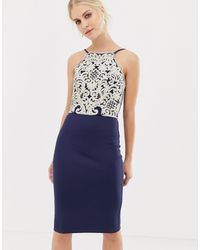 Chi Chi London Midi Pencil Dress With Gold Embroidery - Blue