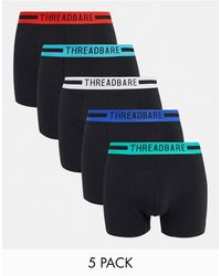 Threadbare Coven 5 Pack Trunks With Bright Waistbands - Black