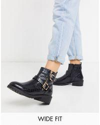 New Look - Черные Байкерские Ботинки Из Искусственной Крокодиловой Кожи -черный Цвет - Lyst
