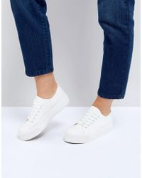 New Look - Flatform Lace Up Trainer - Lyst