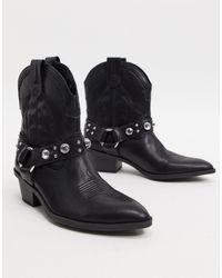Bershka Harness Detail Western Boots - Black