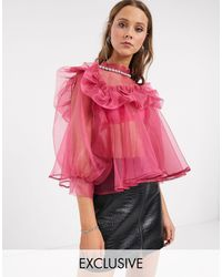 Sister Jane Oversized Blouse With Embellished Collar And Puff Sleeves - Pink
