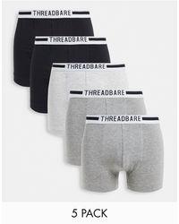 Threadbare Mylz 5 Pack Trunks - Black