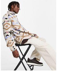 ASOS Oversized-рубашка Из Искусственного Меха «борг» С Ацтекским Принтом В Стиле 90-х - Многоцветный