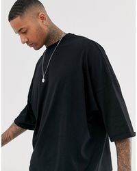 ASOS Extreme Oversized Longline T-shirt With Roll Sleeve - Black
