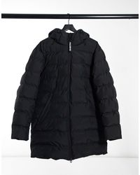 Pull&Bear Padded Longline Puffer Jacket - Black
