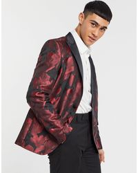 Bolongaro Trevor – Eng geschnittener Blazer mit Blumenprint - Rot
