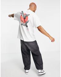 Honour HNR LDN - T-shirt oversize à imprimé grue au dos - Blanc