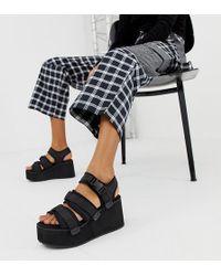 Blink Sporty Platform Wedge Sandals - Black