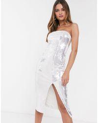 River Island Bandeau Sequinned Midi Dress - Metallic