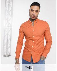 Farah Оранжевая Приталенная Оксфордская Рубашка Brewer-оранжевый