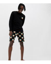 ASOS - Mix & Match Pyjama Shorts With Christmas Pud Design - Lyst