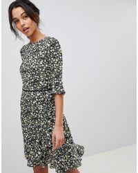 Oasis Ditsy Floral Print Frill Hem Skater Dress - Multicolour