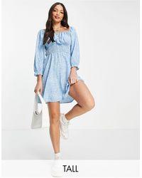 New Look Синее Платье Мини С Квадратным Вырезом, Сборками И Принтом -голубой - Синий