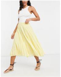 ASOS Falda midi amarilla plisada - Amarillo