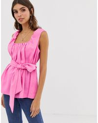 ASOS Square Neck Top In Linen With Tie Waist - Pink