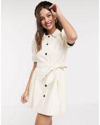 Moon River Faux Leather Puff Sleeve Mini Dress-white - Multicolor