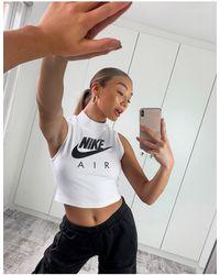 Nike Белый Кроп-топ С Высоким Воротником И Логотипом
