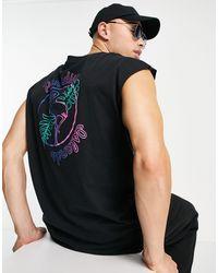 """Another Influence Camiseta sin mangas con estampado """"Paradise"""" en la espalda - Negro"""