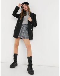 New Look Черное Мягкое Фактурное Пальто-блейзер В Стиле Oversize -черный