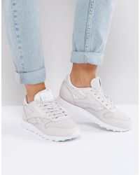Reebok - Classic Leather Texture Trainers In Lilac - Lyst