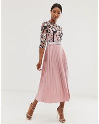 Little Mistress Lace Embroidered Top 3/4 Sleeve Midi Dress With Pleated Skirt In Rose - Pink